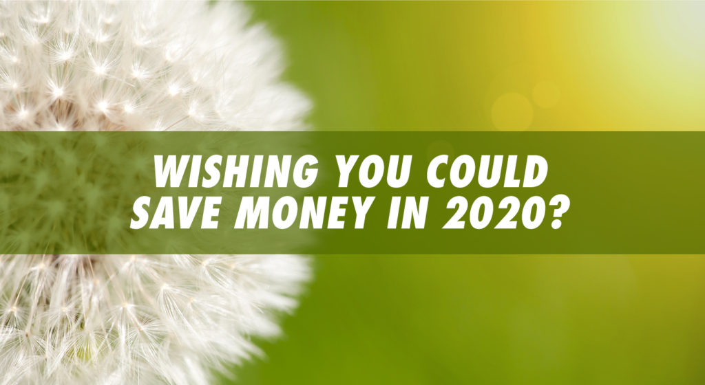 "Blowball dandelion close-up with green background and text reading ""Wishing you could save money in 2020?"""